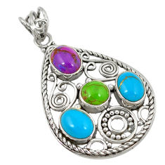 Clearance Sale- 925 silver southwestern multi color copper turquoise pendant jewelry d8535