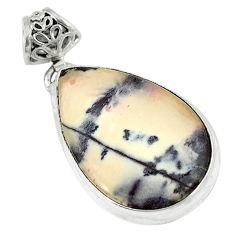 Clearance Sale- Natural grey porcelain jasper (sci fi) pear 925 silver pendant jewelry d8545