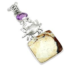 Clearance Sale- Natural white wild horse magnesite amethyst 925 silver crab pendant d8573