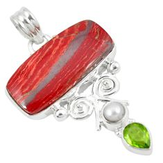 Clearance Sale- 925 sterling silver natural red snakeskin jasper peridot pearl pendant d8575