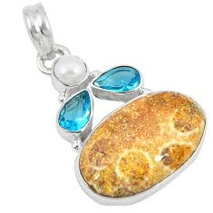 Clearance Sale- 925 silver natural yellow fossil coral (agatized) petoskey stone pendant d8580