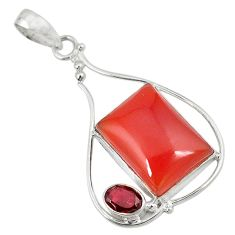 Clearance Sale- Natural honey onyx red garnet 925 sterling silver pendant jewelry d8597