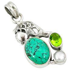 925 silver natural green turquoise tibetan peridot pearl fish pendant d8630