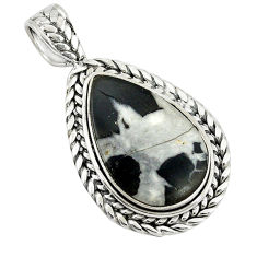 Clearance Sale- Natural black septarian gonads 925 sterling silver pendant jewelry d9084