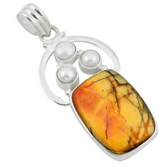 Natural brown cherry creek jasper pearl 925 silver pendant d9087