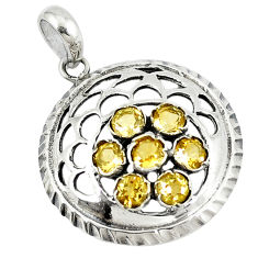 Clearance Sale- ver natural yellow citrine round pendant jewelry d9120