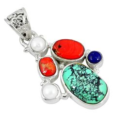 Clearance Sale- rquoise tibetan coral pearl 925 sterling silver pendant d9123