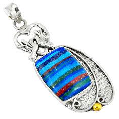Clearance Sale- Natural multi color rainbow calsilica 925 silver love birds pendant d9135