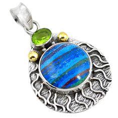 Clearance Sale- 925 silver natural multi color rainbow calsilica peridot two tone pendant d9145