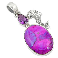 Clearance Sale- r turquoise amethyst fish pendant d9153
