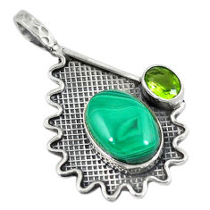 al green malachite (pilot's stone) peridot pendant d9169
