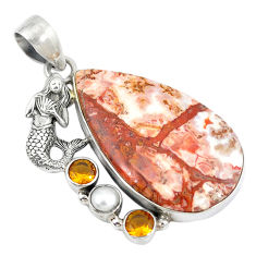 Clearance Sale- Natural pink rosetta stone jasper pearl 925 silver fairy mermaid pendant d9196