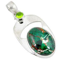 Clearance Sale- Sonora sunrise (cuprite chrysocolla) peridot 925 silver pendant jewelry d9203