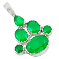 Clearance Sale- Natural green chalcedony 925 sterling silver pendant jewelry d9221