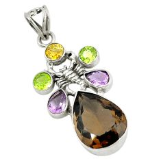 Clearance Sale- Brown smoky topaz purple amethyst 925 sterling silver scorpion pendant d9230