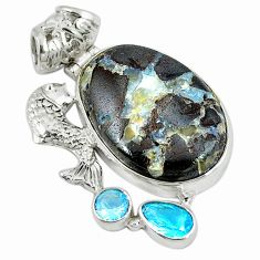 Clearance Sale- ver natural brown boulder opal topaz fish pendant jewelry d9244