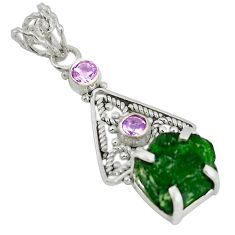 Clearance Sale- Green chrome diopside rough purple amethyst 925 sterling silver pendant d9262