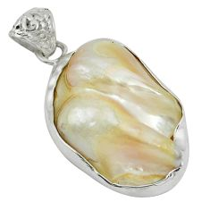 Clearance Sale- 925 sterling silver natural white biwa pearl pendant jewelry d9276