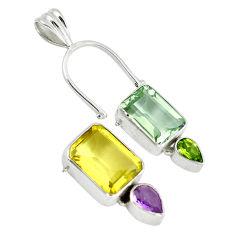 Clearance Sale- ral lemon topaz amethyst 925 silver pendant jewelry d9289