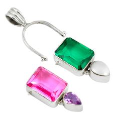 Clearance Sale- Changeabale green emerald quartz kunzite (lab) 925 silver pendant d9293