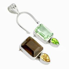 Clearance Sale- n smoky topaz amethyst 925 sterling silver pendant d9295