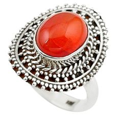 Clearance Sale- Natural orange onyx oval 925 sterling silver ring jewelry size 7 d10521