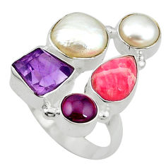 rosite inca rose 925 silver ring size 8 d10541