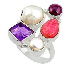 rosite inca rose 925 silver ring size 7.5 d10542