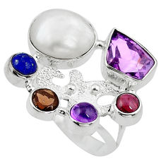 Clearance Sale- 925 sterling silver natural white biwa pearl amethyst lapis ring size 8.5 d10560