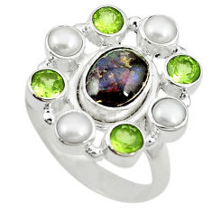 Clearance Sale- lor ammolite (canadian) pearl 925 silver ring size 8.5 d10586