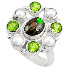 Clearance Sale- lor ammolite (canadian) pearl 925 silver ring size 8 d10588
