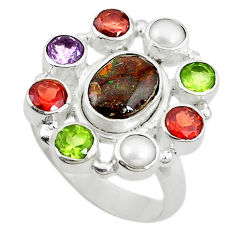 Clearance Sale- lor ammolite (canadian) pearl 925 silver ring size 7.5 d10590