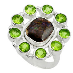 lor ammolite (canadian) peridot 925 silver ring size 7 d10591