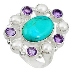 Clearance Sale- ethyst pearl 925 silver ring size 8.5 d10635