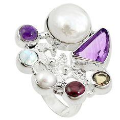 Clearance Sale- arl moonstone garnet 925 sterling silver ring size 7 d10641