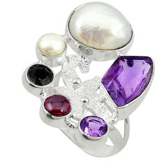 Clearance Sale- arl amethyst 925 sterling silver ring size 7.5 d10670