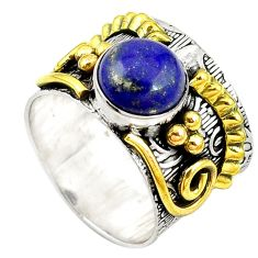 Clearance Sale- Natural blue lapis lazuli 925 silver 14k gold two tone band ring size 8.5 d10731