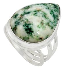 Natural white tree agate 925 sterling silver ring size 8.5 d10752