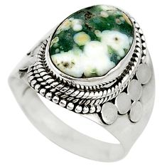 Clearance Sale- Natural multicolor ocean sea jasper (madagascar) 925 silver ring size 8.5 d10768