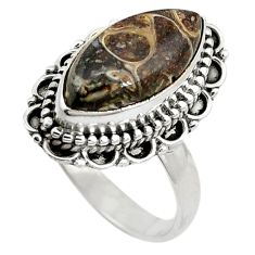Clearance Sale- 925 silver natural brown turritella fossil snail agate ring size 7.5 d11031