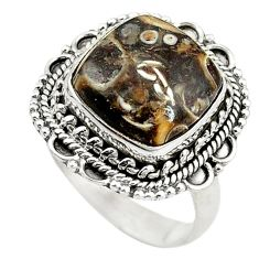 Clearance Sale- Natural brown turritella fossil snail agate 925 silver ring size 8 d11098