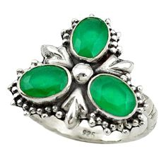 Clearance Sale- Green emerald quartz 925 sterling silver ring jewelry size 7.5 d14331