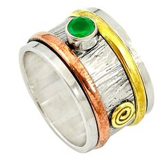 925 silver natural green chalcedony 14k gold band ring jewelry size 7.5 d14364