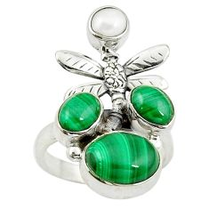 Clearance Sale- Green malachite (pilot's stone) 925 silver dragonfly ring size 7.5 d14385