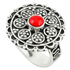Clearance Sale- Red coral round shape 925 sterling silver ring jewelry size 6.5 d14402
