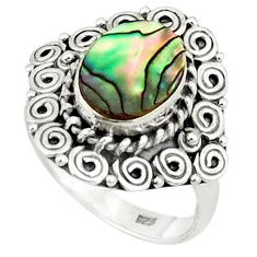 Clearance Sale- Natural green abalone paua seashell oval 925 sterling silver ring size 7 d1515