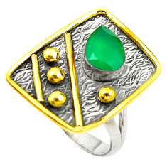 Clearance Sale- Victorian natural green chalcedony 925 silver two tone ring size 6 d15271