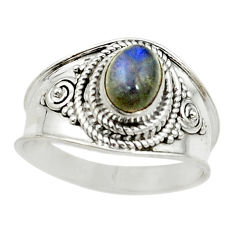 Clearance Sale- Natural blue labradorite 925 sterling silver ring jewelry size 8 d15295