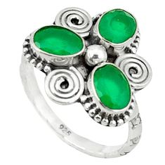 Clearance Sale- Green emerald quartz 925 sterling silver ring jewelry size 8 d1536