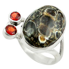 Clearance Sale- Natural brown turritella fossil snail agate 925 silver ring size 6 d15369